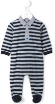 Armani Junior striped tie effect romper suit