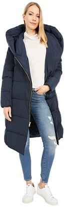 Cole Haan Zip Front Down Coat w/ Dramatic Oversized Hood (Navy) Women's Coat
