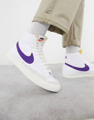 Nike Blazer Mid '77 leather trainers in white/purple