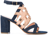 Jean-Michel Cazabat metallic strap denim sandals - women - Cotton/Leather - 36
