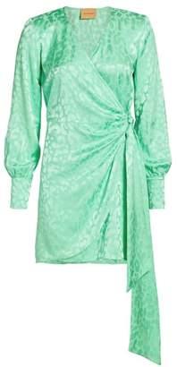 Andamane Carly Leopard Jacquard Mini Wrap Dress