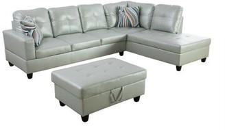 "Latitude Run Adis 103.5"" Faux Leather Sofa & Chaise with Ottoman Fabric: Black Faux Leather, Orientation: Right Hand Facing"
