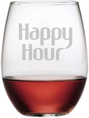Susquehanna Glass Happy Hour Set Of 4 21Oz Stemless Wine Glasses