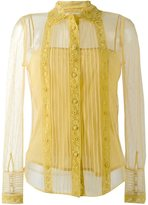RED Valentino embroidered semi-sheer shirt - women - Silk/Cotton/Polyester - 40