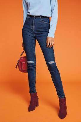 Next Womens Dark Blue Ripped High Rise Skinny Jeans - Blue