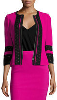 Andrew Gn 3/4-Sleeve Lace-Trim Fitted Crepe Jacket, Fuchsia