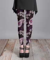 Lily Pink & Black Floral Paisley Leggings - Plus Too