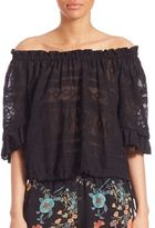 Rebecca Taylor Off-The Shoulder Embroidered Gauze Top