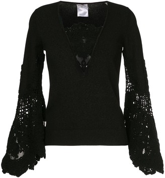Chanel Pre Owned Lace-Embroidered Flared Top