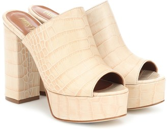 Paris Texas Croc-effect leather platform sandals