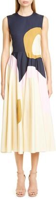 Roksanda Oversize Pattern Poplin Midi Dress