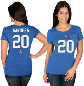 Majestic Women's Barry Sanders Blue Detroit Lions Hall of Fame Fair Catch Name & Number T-Shirt