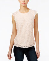 Maison Jules Lace Flutter-Sleeve Top, Only at Macy's