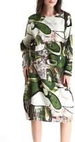 ELLAZHU Women Spring Cotton&Linen Bohemia Print Midi Dress