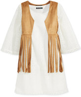 Sequin Hearts Girls' 2-Pc. Fringe Vest & Shift Dress Set