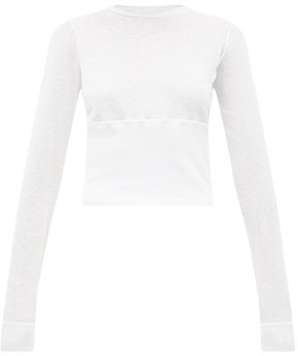 Wardrobe.Nyc Wardrobe.nyc - Release 05 Hem-panel Long-sleeved Jersey T-shirt - Womens - White