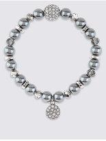 M&S Collection Pearl Effect & Diamanté Charm Stretch Bracelet