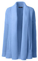 Lands' End Women's Petite Drifter Cotton Sweater Coat-Eggshell White Stripe