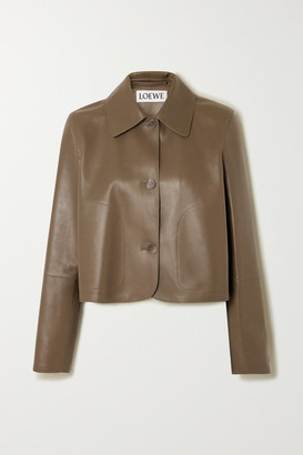 Loewe Cropped Leather Jacket - Green