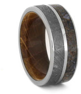 Etsy Mens Meteorite Wedding Band With Whiskey Barrel Wooden Sleeve, Dinosaur Bone Ring Made With Titanium