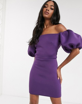 True Violet extreme 80s puff sleeve mini dress in aubergine