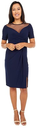 Adrianna Papell Jersey Draped Cocktail Dress with Mesh Yoke (Midnight) Women's Dress