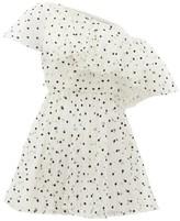 Giambattista Valli One-shoulder Swiss-dot Mini Dress - Womens - White Black