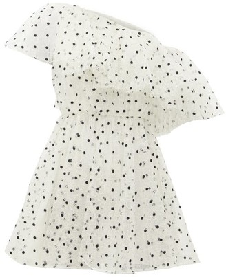 Giambattista Valli One-shoulder Swiss-dot Mini Dress - Womens - White Black