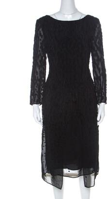 Escada Black Fil Coupe Wrap Front Dorelles Dress M