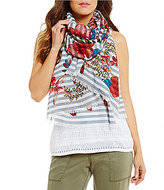 Tommy Bahama Tommy Bahamas Sacred Groves Floral Striped Scarf