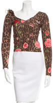 Blumarine Leopard Printed Long Sleeve Top