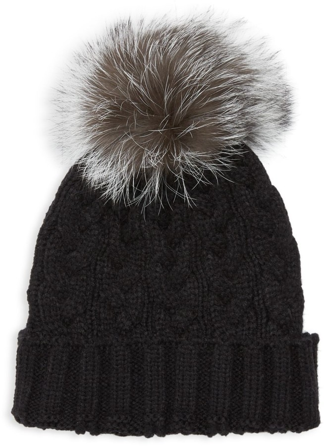 Adrienne Landau Natural Fox Fur Pom Pom Hat