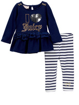 Juicy Couture I Heart Juicy Applique Ruffle Bottom Tunic & Striped Legging Set (Baby Girls)