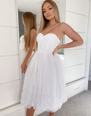 Rare London strapless tulle skirt midi dress in white