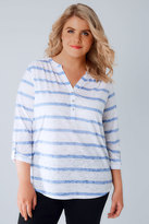Yours Clothing White & Blue Stripe Burnout Jersey Top With Button Detail
