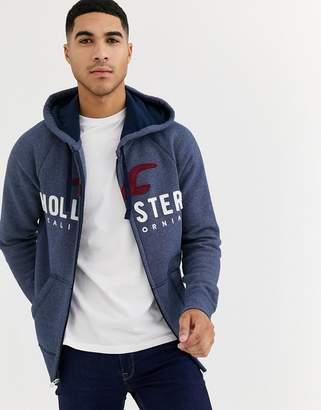 Hollister iconic tech logo full zip hoodie in navy