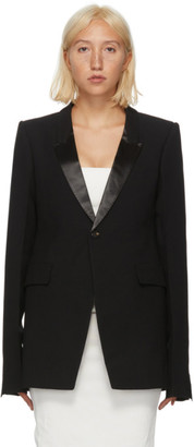 Rick Owens Black Wool Satin Soft Blazer