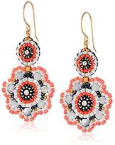 Miguel Ases Mother-Of-Pearl and Coral Miyuki Flower Drop Earrings
