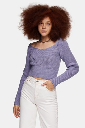 Topshop Womens Lilac Scoop Neck Knitted Jumper - Lilac