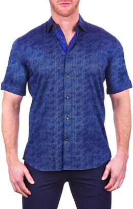 Maceoo Galileo Weave Blue Short Sleeve Button-Up Shirt
