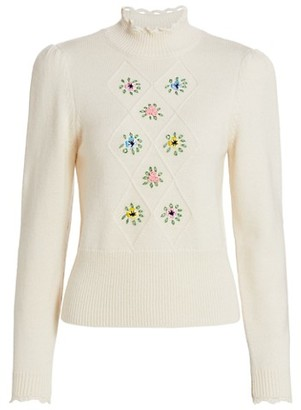 By Ti Mo Soft Embroidered Knit Turtleneck