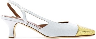 Paris Texas Contrast Toe-Cap Slingback Pumps