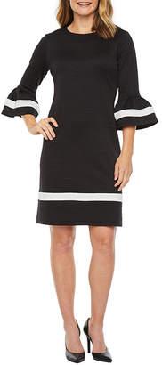 Liz Claiborne 3/4 Bell Sleeve Textured Fit & Flare Dress