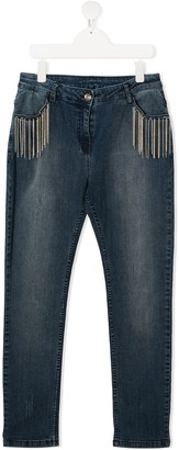 Twin-Set TEEN chain-trimmed jeans