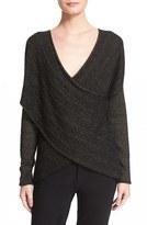 Derek Lam 10 Crosby Metallic Stripe Draped V-Neck Sweater