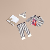 Burberry Striped Cotton Three-piece Baby Gift Set
