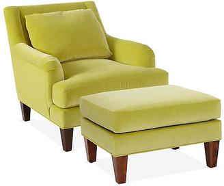 One Kings Lane Merrimack Chair & Ottoman Set - Chartreuse