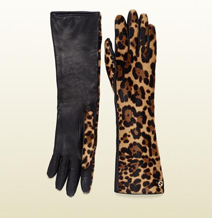 Gucci Women's Long Jaguar Printed Leather Gloves