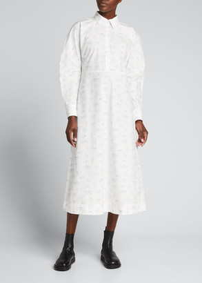 Ganni Printed Poplin Midi Shirtdress