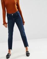 Asos Pencil Straight Leg Jeans In Dasha Darkwash with Side Split Hem